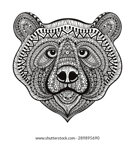 Zentangle stylized bear face hand drawn doodle vector illustration isolated on white background sketch