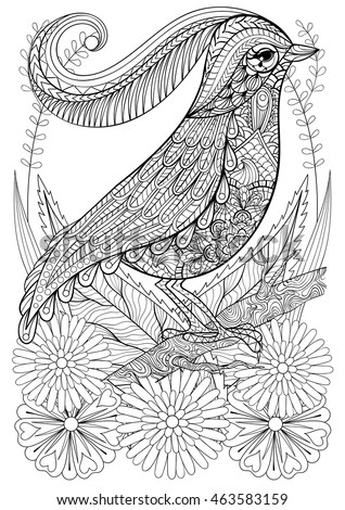 Zentangle Stylized Bird With Flowers Hand Drawn Ethnic Animal For Adult Coloring Pages Art