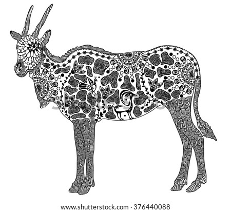 Zentangle stylized black antelope. Hand Drawn vector illustration. Books or tattoos with high details isolated on white background. Collection of animals. - stock vector