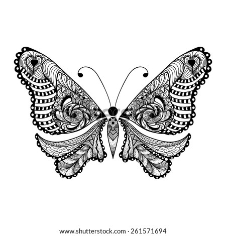 Zentangle stylized black Butterfly. Hand Drawn vector illustration isolated on white background. Sketch for tattoo or makhenda. Insect collection. - stock vector