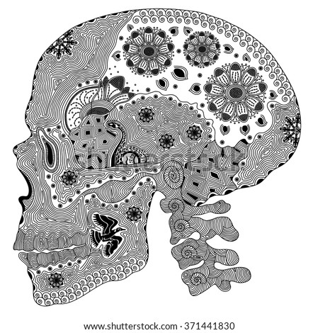 Zentangle stylized black human skull. Hand Drawn vector illustration. Coloring books or tattoos with high details isolated on black background. The collection of skulls. - stock vector