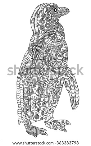 Zentangle stylized black penguin. Hand Drawn vector illustration. Coloring books or tattoos with high details isolated on black background. - stock vector