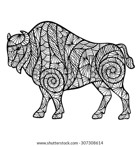 Zentangle stylized buffalo, handmade vector isolated on a white background for your design. Collection of animals. - stock vector
