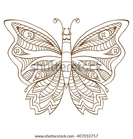 Zentangle stylized butterfly. Brown white hand drawn doodle animal. Ethnic patterned vector illustration. African, indian, totem tribal design. Sketch for coloring page