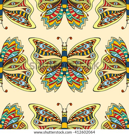 Zentangle stylized Butterfly seamless pattern for fabric. Hand Drawn vector illustration. Insect collection.