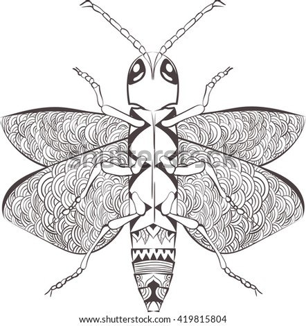 Zentangle stylized cartoon beetle insect, isolated on white background. Sketch for adult antistress coloring page.