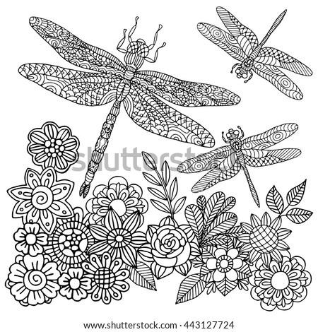 Zentangle stylized cartoon dragonfly insect is flying around flowers. Sketch for adult antistress coloring page. Hand drawn doodle, zentangle style