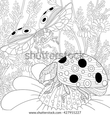 Zentangle Stylized Cartoon Flying Ladybugs And Daisy Flowers Hand Drawn Sketch For Adult Anti Stress
