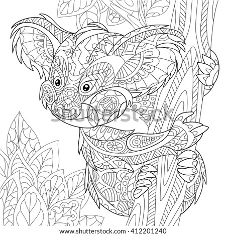 Zentangle stylized cartoon koala bear sitting among tree leaves. Hand drawn sketch for adult antistress coloring page, T-shirt emblem, logo or tattoo with doodle, zentangle, floral design elements. - stock vector