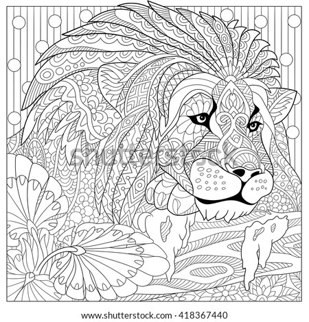 Zentangle stylized cartoon lion (wild cat, leo zodiac). Hand drawn sketch for adult antistress coloring page, T-shirt emblem, logo or tattoo with doodle, zentangle, floral design elements. - stock vector