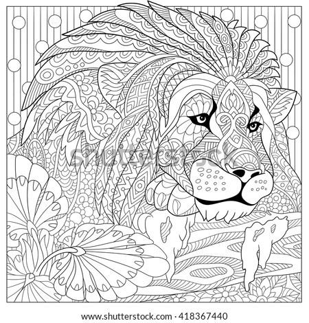 Zentangle Stylized Cartoon Lion Wild Cat Leo Zodiac Hand Drawn Sketch For