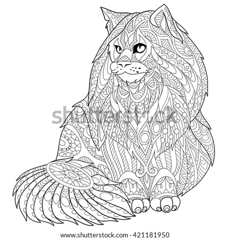 Zentangle stylized cartoon maine coon (american longhair) cat. Hand drawn sketch for adult antistress coloring page, T-shirt emblem, logo or tattoo with doodle, zentangle, floral design elements. - stock vector