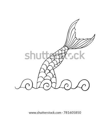 Mermaid 39 s silhouette stock images royalty free images for Mermaid tail coloring pages
