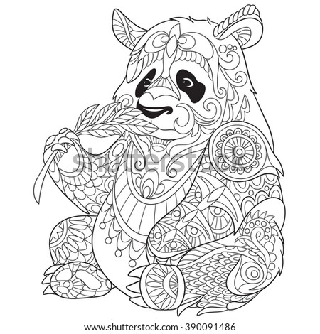 Zentangle Stylized Cartoon Panda, Isolated On White Background. Sketch For  Adult Antistress Coloring Page