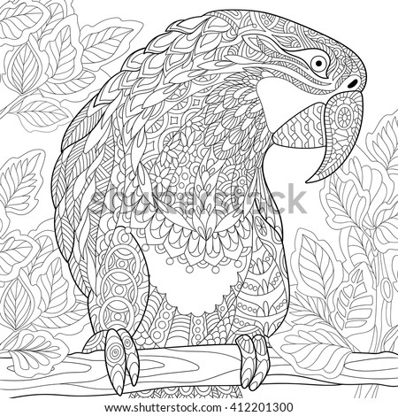 Zentangle stylized cartoon parrot - macaw sitting on a tree branch among leaves. Hand drawn sketch for adult antistress coloring page, T-shirt emblem, logo or tattoo with floral design elements. - stock vector