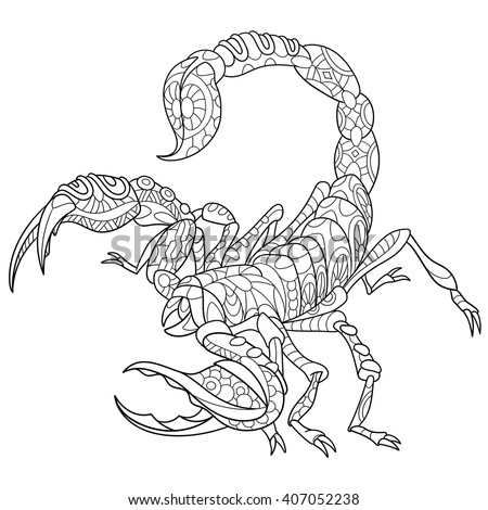 Zentangle stylized cartoon scorpio - zodiac sign in horoscope. Hand drawn sketch for adult antistress coloring page, T-shirt emblem, logo or tattoo with doodle, zentangle, floral design elements.
