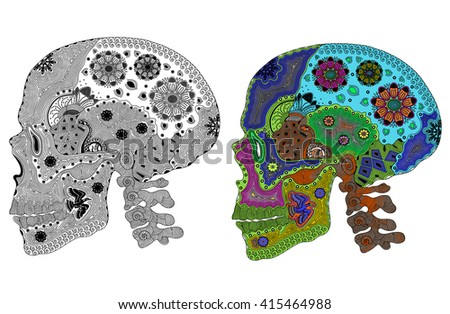 Zentangle stylized color and black human skull. Hand Drawn vector illustration. Books or tattoos with high details isolated on white background. Psychedelic. - stock vector