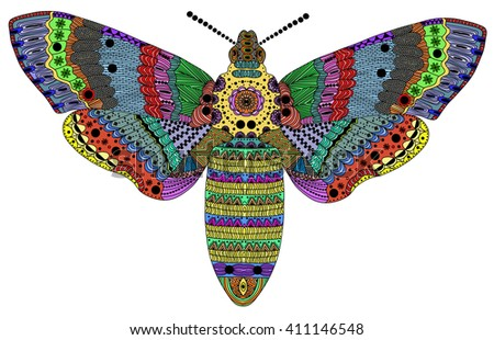 Zentangle stylized color butterfly . Hand Drawn vector illustration. Books or tattoos with high details isolated on white background. Collection of insects. - stock vector