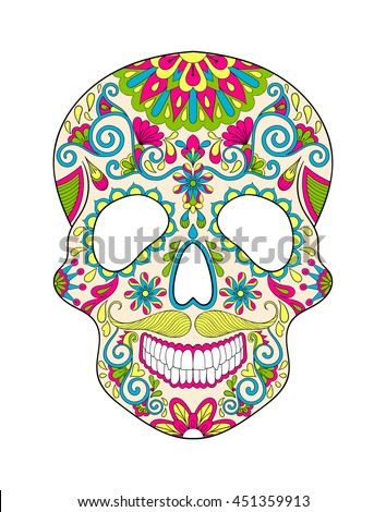 zentangle stylized color skull for halloween freehand sketch for adult anti stress coloring page