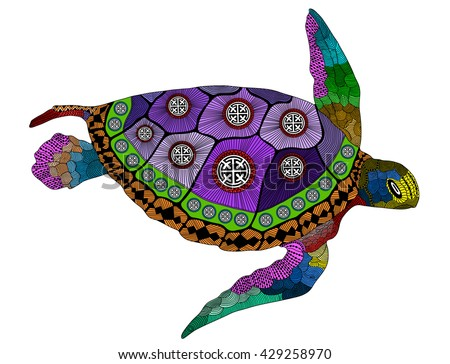 Zentangle stylized color turtle. Hand Drawn vector illustration. Books or tattoos with high details isolated on white background. Collection of reptiles. - stock vector