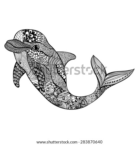 Zentangle stylized dolphin. Hand Drawn aquatic doodle vector illustration. Sketch for tattoo or makhenda. Animal sea collection. Ocean life. - stock vector