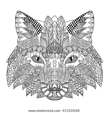 Zentangle Stylized Doodle Animal Vector Of Fox Head Zen