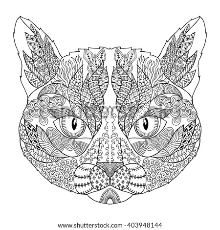 Zentangle Stylized Doodle Vector Of Cat Head Zen Art Drawing Style Illustration Isolated On