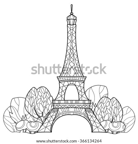 Zentangle stylized Eiffel tower Hand Drawn vector illustration. Sketch for tattoo or makhenda. France collection. - stock vector