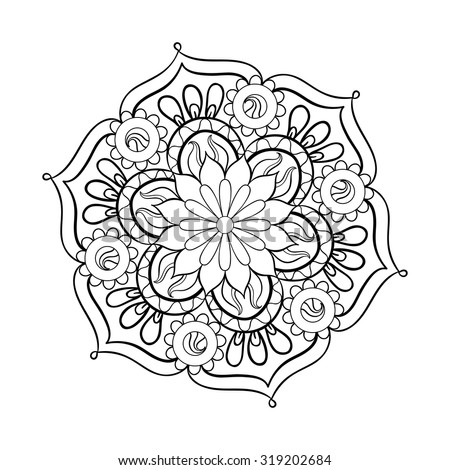 Zentangle stylized elegant black Mandala for coloring page. Hand drawn vintage ornament round Pattern on white background. Ethnic decorative elements. Yoga spirit. - stock vector