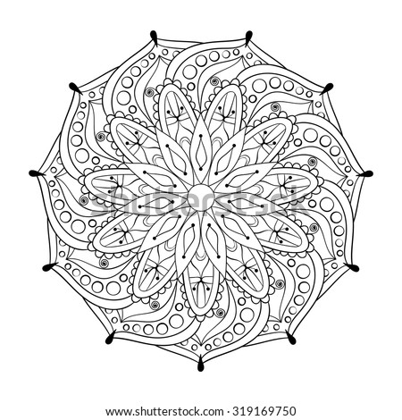 Zentangle stylized elegant round Indian Mandala for adult anti-stress coloring pages. Hand drawn vintage Ornament Pattern on white background. Ethnic decorative elements. Yoga spirit. - stock vector