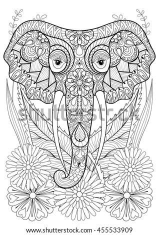 Zentangle Stylized Elephant Head On Flowers Stock Vector