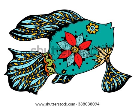Zentangle stylized Fish. Hand Drawn doodle vector illustration isolated on white background. Sketch for tattoo or makhenda. Sea food collection. - stock vector