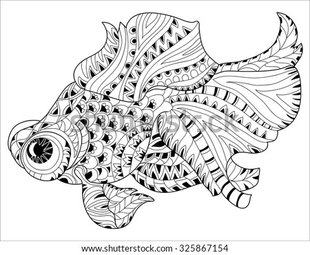 Zentangle stylized floral china fish doodle. Hand Drawn boho vector illustration. Sketch for tattoo or coloring book. - stock vector
