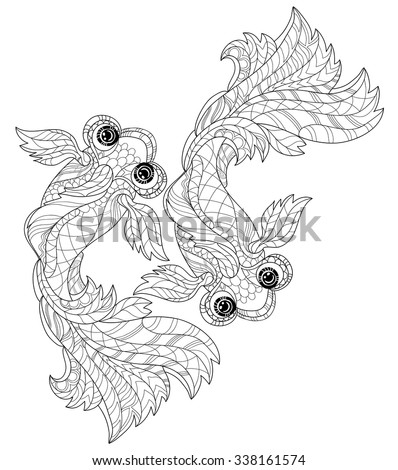 Zentangle stylized floral china fish doodle. Hand Drawn vector illustration. Sketch for tattoo or coloring book. - stock vector