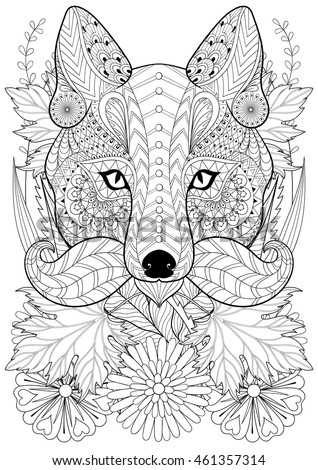 zentangle stylized fox with moustache on flowers hand drawn ethnic animal for adult coloring pages - A4 Colouring Pages
