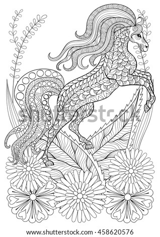 Zentangle Stylized Horse With Flowers Hand Drawn Ethnic Animal For Adult Coloring Pages Art