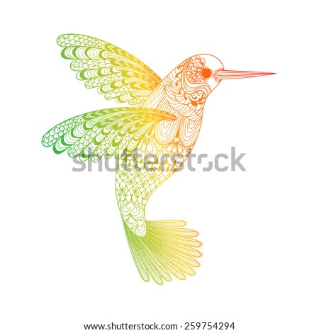 Zentangle stylized  Hummingbird. Hand Drawn vector illustration isolated on white background. Sketch for tattoo or makhenda. Bird collection.  - stock vector