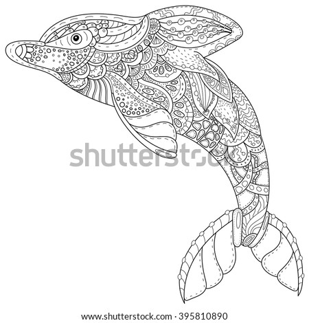 Dolphin tattoo in tribal style stock images royalty for Adult coloring pages dolphin