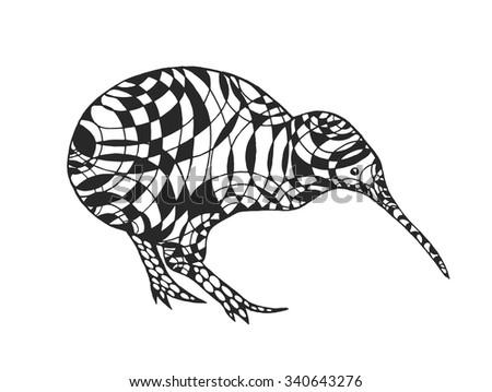 Zentangle Stylized Kiwi. Birds. Black White Hand Drawn Doodle. Ethnic  Patterned Vector Illustration