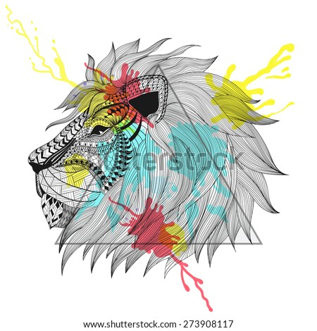 Zentangle stylized Lion face in triangle frame with watercolor ink drop. Hand Drawn doodle vector illustration. Sketch for tattoo or makhenda. Animal collection.
