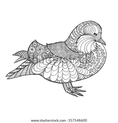 Zentangle stylized mandarin duck. Animals. Black white hand drawn doodle. Ethnic patterned illustration. African, indian, totem tatoo design. Sketch for avatar, tattoo, poster, print or t-shirt - stock vector