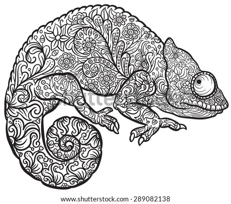 Zentangle stylized multi coloured Chameleon. Hand Drawn Reptile vector illustration in doodle style for tattoo or print  - stock vector