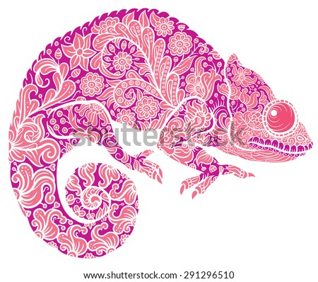 Zentangle stylized multicolored Chameleon. Hand Drawn Reptile vector illustration in doodle style for tattoo or print - stock vector