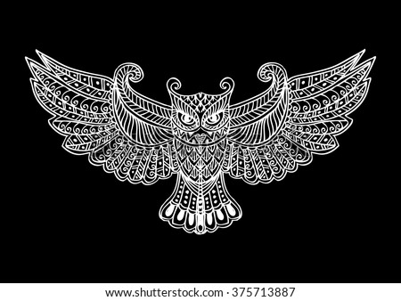Zentangle stylized Owl. Hand drawing illustration.