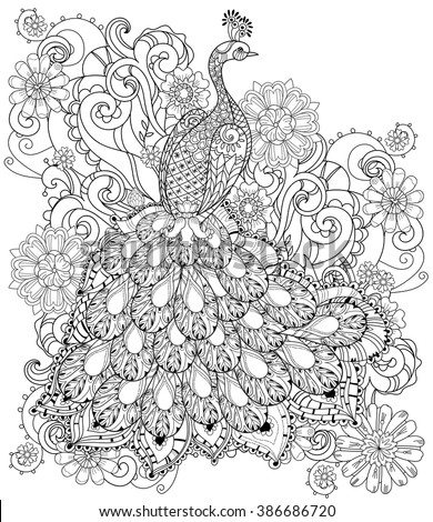 Zentangle stylized peacock Hand Drawn vector illustration. Sketch for tattoo or makhenda. Bird collection boho style. - stock vector