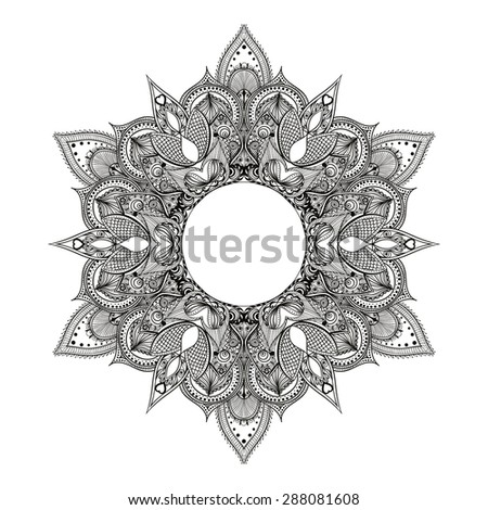 Zentangle stylized Round Indian Mandala.  Hand drawn vintage Ornament Pattern. Yoga spirit. - stock vector