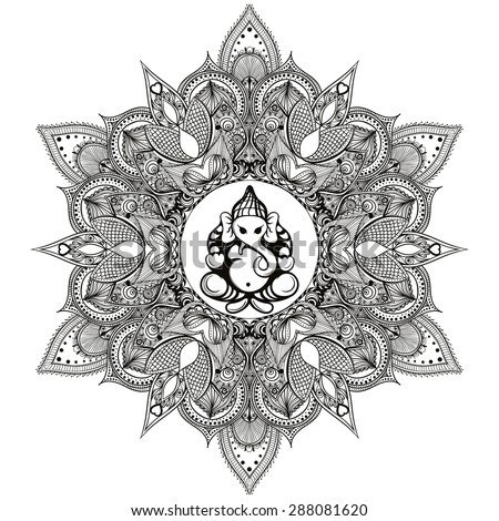 Zentangle stylized Round Indian Mandala with Hindu Elephant God Ganesha.  Hand drawn vintage Ornament Pattern . - stock vector