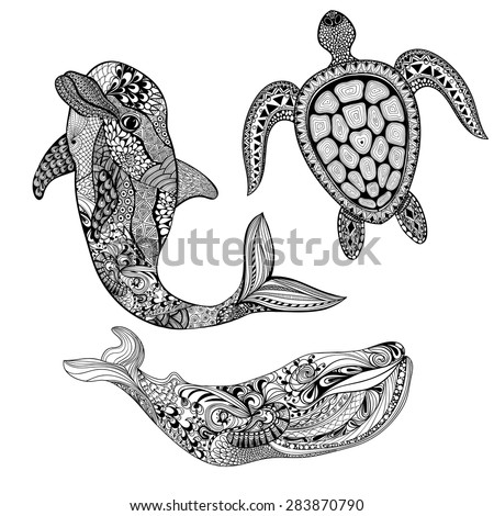Zentangle stylized set sea animals. Black dolphin, whale and turtle isolated on white background. Hand Drawn aquatic doodle vector illustration. Sketch for tattoo or makhenda. Ocean life. - stock vector