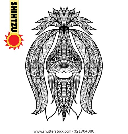 zentangle stylized shihtzu head hand drawn dog doodle vector illustration sketch for tattoo or - Shih Tzu Coloring Pages