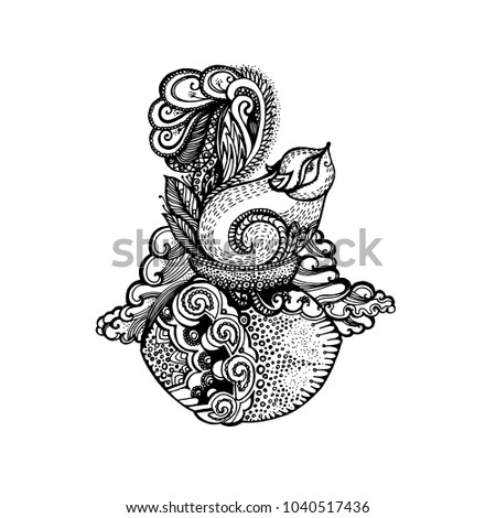Zentangle Stylized Squirrel Hand Drawn Funny On The Nut For Adult Anti Stress Coloring